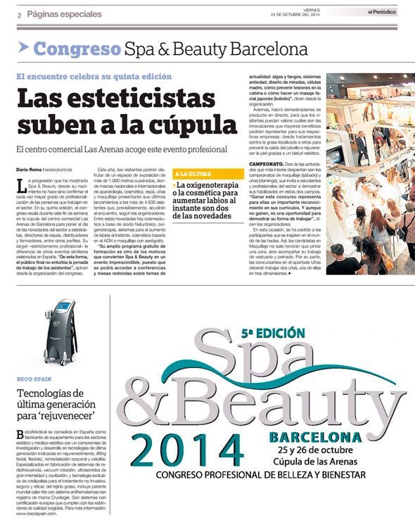 Beco Spain-Beco Mecical y Spa & Beauty Barcelona 2014 periodico